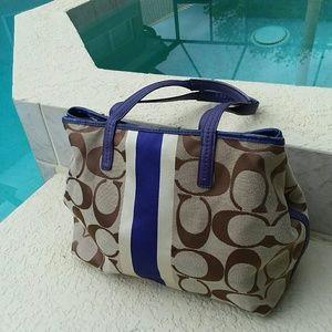 COACH Brown/Tan Handbag Tote Varsity Purple Stripe